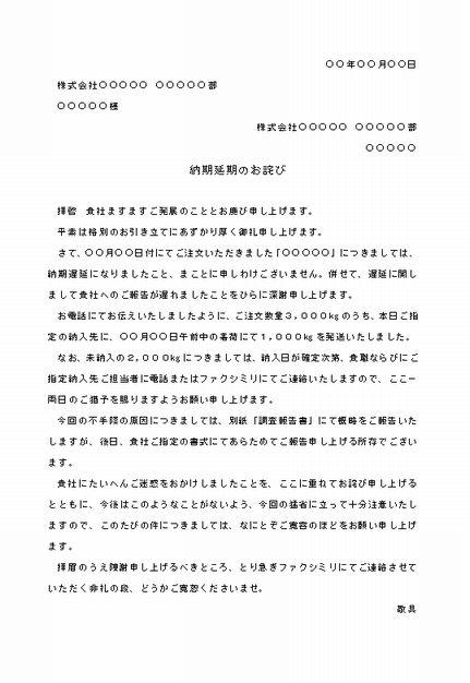 ビジネス文書の書き方-納期遅延のお詫び(1)