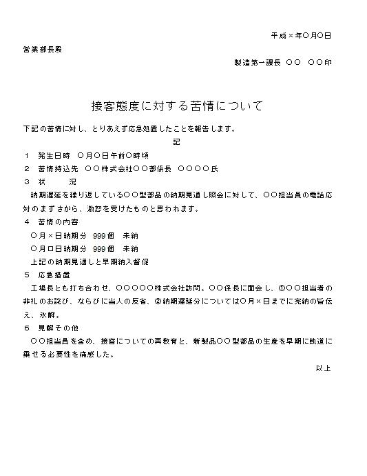 ビジネス文書の書き方-クレーム報告(接客態度への苦情)